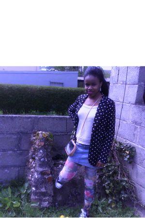 black A wear blazer - beige vera moda shirt - blue vera moda skirt - pink Pennys