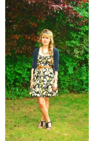 black Topshop cardigan - Primark dress - black Primark - brown Topshop accessori