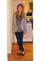 gray Primark cardigan - orange Topshop top - blue Topshop jeans - brown Topshop