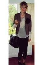 Topshop jacket - warehouse blouse - Topshop jeans - warehouse purse - Marks and