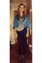 Primark jacket - Topshop top - Topshop leggings - Topshop shoes - dubai necklace