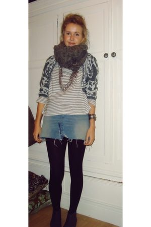 borrowed scarf - vintage vest - Zara top - borrowed skirt - Topshop shoes