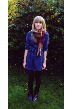 borrowed dress - Accessorize scarf - Marks and Spencers tights - Primark boots