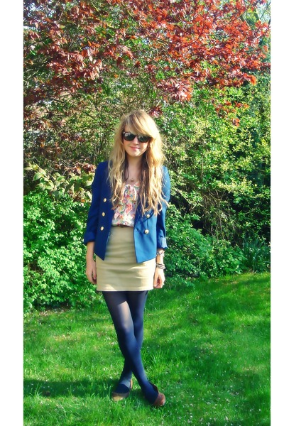 blue H&M blazer - brown new look hat - pink floral H&M blouse - beige H&M skirt