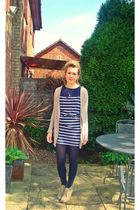 blue new look dress - beige Zara cardigan - beige new look