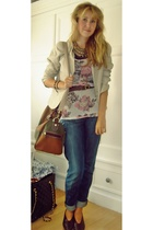 Secondhand jacket - Topshop top - Tommy Hilfiger jeans - Secondhand shoes