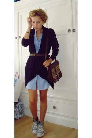 blue H&M sweater - gray Converse shoes - blue H&M dress