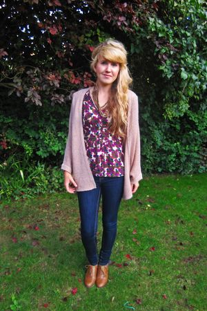 pink Topshop cardigan - pink Topshop top - blue new look jeans - brown Primark s