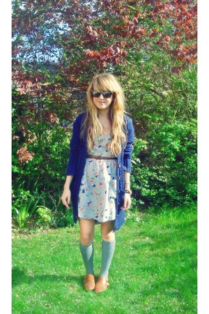 blue Primark cardigan - blue River Island dress - gray new look socks - brown To