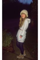 beige River Island dress - beige Primark hat - blue Marks and Spencers tights -