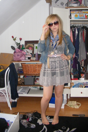 TKmaxx dress - H&amp;M jacket - vintage belt - vintage scarf - H&amp;M sunglasses