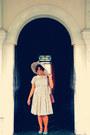 Nude-chiffon-polkadot-dress-dress-nude-fiber-beach-hat-hat