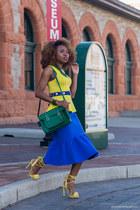 asos skirt - cambridge satchel bag - escada belt - Boohoo top - JustFab sandals