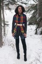 black Zara boots - yellow thrifted scarf - gold asos belt