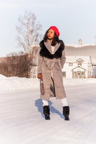 Missguided coat - Shoedazzle boots - Boohoo scarf