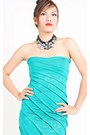 Aquamarine-floral-dress-lu-liam-dress-black-bib-necklace-lu-liam-necklace
