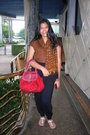 Brown-blouse-scarf-red-mango-black-pants-white-wimo