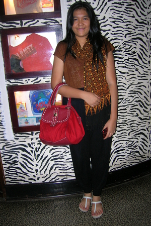 brown blouse - scarf - red Mango - black pants - white wimo