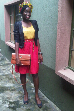 yellow no brand scarf - black American Apparel shoes - black Chinatown jacket