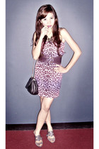 pink Topshop dress - gray Korean shoes - purple Celine belt