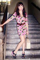 pink Topshop dress - black shoes - vintage accessories - brown clarithas belt