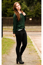 dark green H&M sweater - black New Yorker pants - white New Yorker blouse