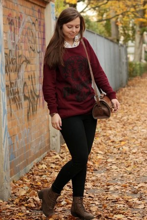 camel Deichmann shoes - maroon New Yorker sweater - black Primark leggings