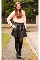 coral Pimkie sweater - black New Yorker skirt - black H&M heels