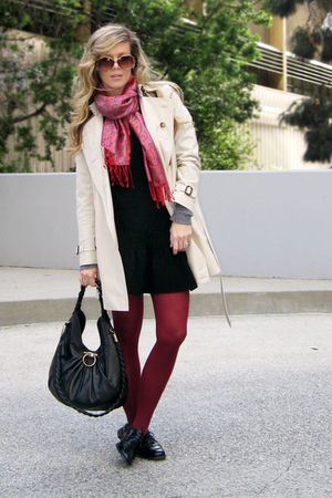 beige Burberry coat - black IISla dress - black Topshop shoes - black Salvatore