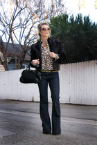 brown leopard blouse vintage blouse - blue indigo denim J Brand Lovestory jeans