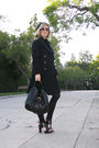 Black-pea-coat-coat-black-forever-21-dress-black-pour-la-victoire-shoes-bl