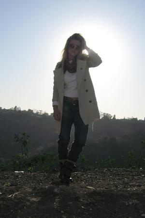 beige Burberry coat - blue Diesel jeans - brown vintage boots
