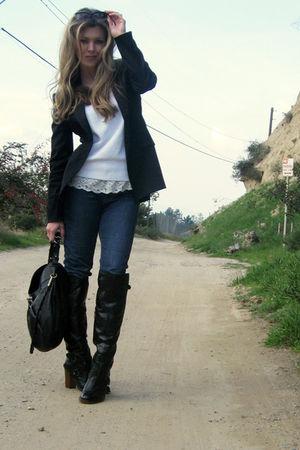 black vintage blazer - black Boutique 9 boots - white vintage lace camisole unde