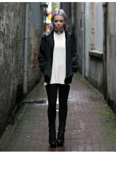 black acne boots - black American Apparel jacket - cream Hans Ubbink sweater