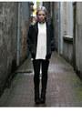 Black-acne-boots-black-american-apparel-jacket-cream-hans-ubbink-sweater