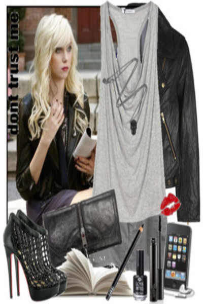 silver t-shirt - black boots - black wallet - black jacket