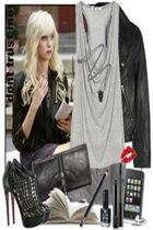 silver t-shirt - black boots - black wallet - black jacket