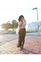 black chiffon Ruche skirt - black rubber Zara boots