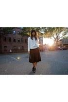 white fuzzy H&M sweater - black wool Zara skirt