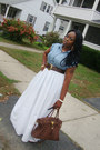 Maxi-skirt-skirt-denim-shirt-shirt-brown-studded-belt-earrings
