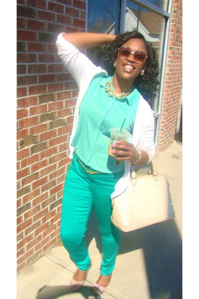 soft pants Forever 21 pants - cotton DP blouse - suede flats