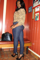 tawny cheeta print shirt - navy soft jeans Forever 21 pants - black Jessica Simp