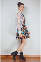 navy korean floral Bugis Street Market dress - black platform Bershka boots