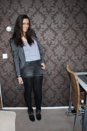 gray H&M blazer - gray Zara shorts - silver Primark top - black Zara boots