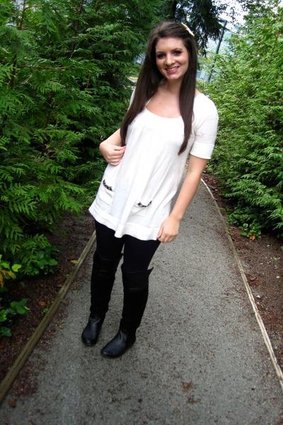 white RW & Co sweater - black Talula leggings - black Chinese Laundry boots - pi