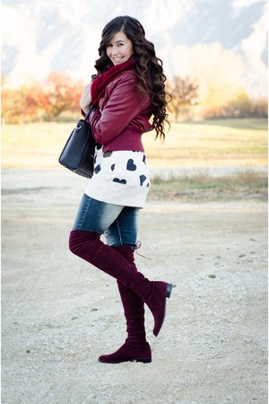 Charlotte Russe jacket - stuart weitzman boots - Windsor Store jeans - sears top