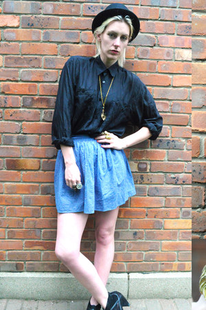 black silk Urban Outfitters shirt - light blue chambray American Apparel skirt