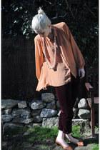 leather vintage shoes - velvet vintage pants