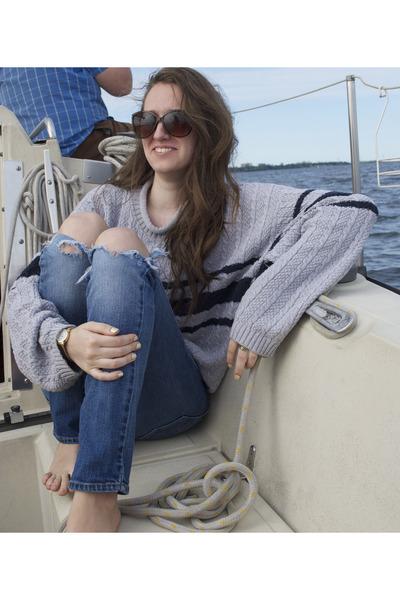 heather gray sweater - navy sweater - Aldo sunglasses - gold Bella watch