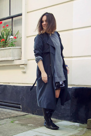 Zara boots - Forever 21 dress - H&M coat - heather gray COS sweater